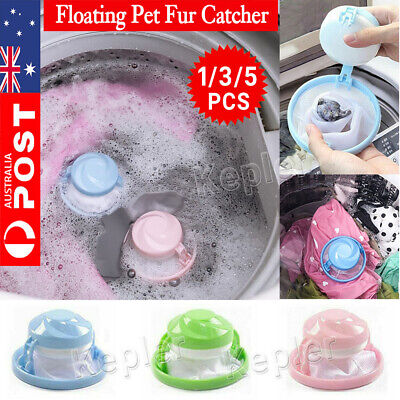 5PC Floating Pet Fur Catcher Reusable Hair Remover Tool for Washing Machine Bag