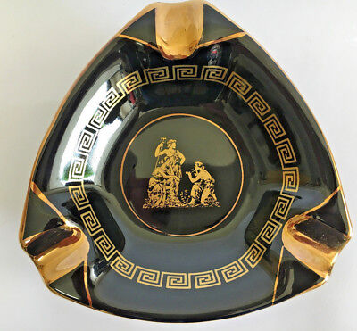 GREEK 24k GOLD DECORATED MADE IN GREECE CERAMIC ASHTRAY