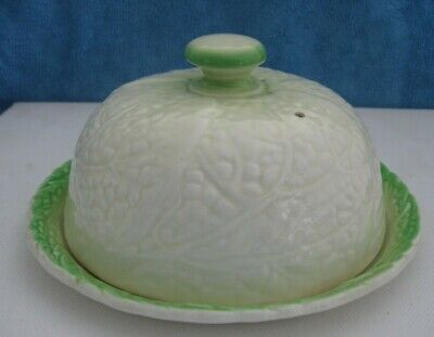 vintage 1930s SYLVAC England CABBAGE LEAF porcelain CHEESE DOME DISH