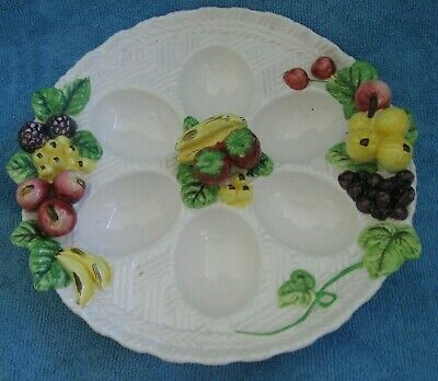 vintage retro porcelain EGG SERVING PLATTER  DISH applied vegtables