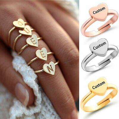 New Personalized Stainless Steel Name Letter A-Z Ring Custom Heart Women Jewelry