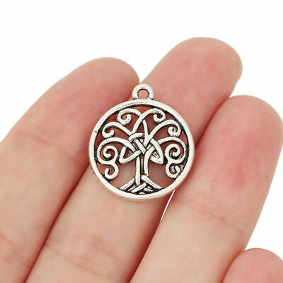10pcs Antique Silver Tone Celtic knot Tree Charms Pendants Jewelry Findings