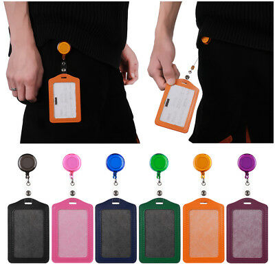 1XOffice Student Nurse Leather ID Badge Holder Card Holder with Retractable Clip