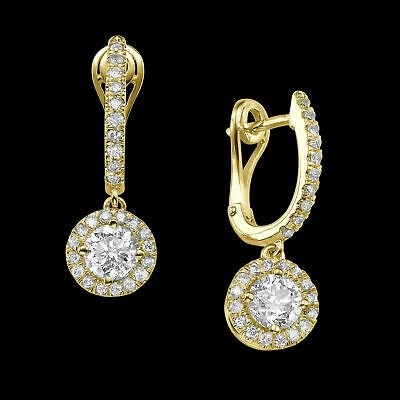 2 1/5 Ct Enhanced Solitaire Diamond Stud Earrings Round H/SI1 14K Yellow Gold