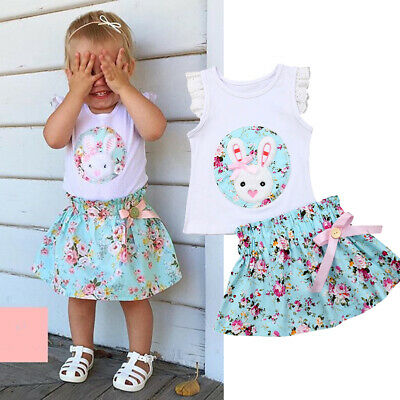 UK Summer Toddler Baby Girl Floral Ruffle Tops+Tutu Skirt Kid Outfit Clothes Set