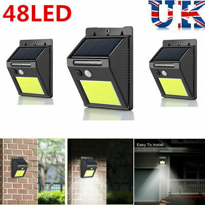 10W 48 LED Solar Powered PIR Motion Sensor Wall Light Garden Security Lamp UK