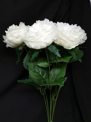 7 Head Artificial Austin Rose Bush x 45cm - Ivory - Wedding Flower Centrepiece