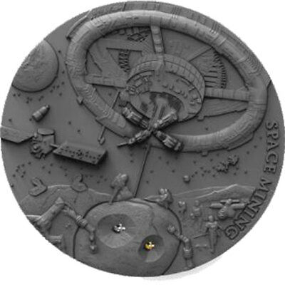 Space Mining Real Chondrite Meteorite Antique finish Silver Coin 1$ Niue 2018