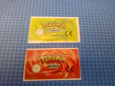 Label For Gameboy Advance Pokemon Leaf Green Verde Hoja Fire Red Rojo Fuego