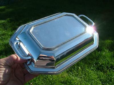 """ANTIQUE QUALITY SILVER PLATED OVAL LIDDED ENTREE SERVING DISH 10.75 x7.85 x3.25"""""""