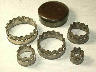 Victorian Set Of Pastry Cutters In Circular Tin Box