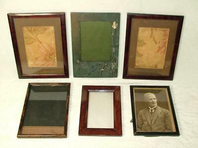 6 x ANTIQUE SMALL RECTANGULAR WOODEN PICTURE FRAMES - ESTATE CLEARANCE
