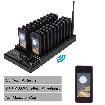 20 Restaurant Coaster Wireless Paging Queue System Rechargeable Pager Guest Call