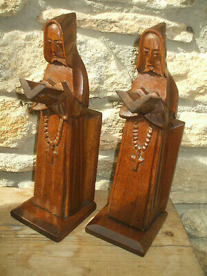 IMPRESSIVE HAND-CARVED WOODEN OAK BOOKENDS c1900  MONKS IN COWELS READING BIBLE