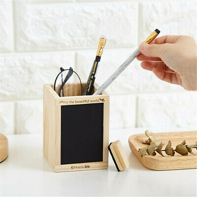 Square Wood Desk Pen Pencil Holder Stand Multi Purpose Use Pencil Cup Stand Z