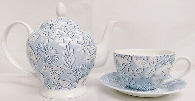 Blue Lace Tea Set Fine Bone China Blue White Flowers Teapot 1 Large Cup & Saucer