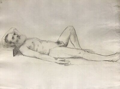 19Th Century French Realist Atelier Academie Drawing - Sleeping Male Nude