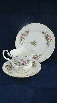 ROYAL ALBERT MOSS ROSE TRIO (cup, saucer, side plate) - seconds