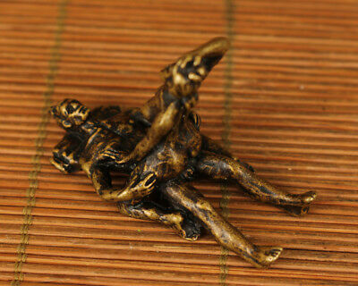 rare copper Old Handmade Carved sexual culture art Statue figure netsuke gift