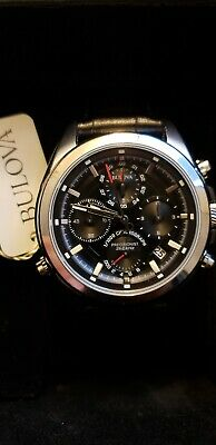 Bulova Precisionist Black Dial Leather Strap Men's Watch 96B259 New with tags