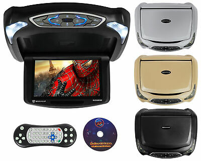 "Rockville RVD9BGB Black/Grey/Beige 9"" Flip Down Car Monitor w DVD/HDMI/Games/USB"