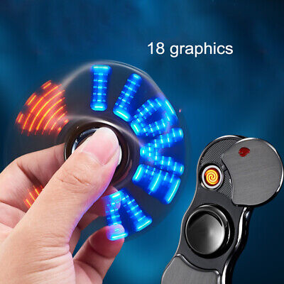 USB Charging Cigarette Lighter Hand Fidget Spinner With LED Flashing  Lighter