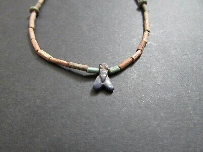 NILE  Ancient Egyptian Lapis Fly Amulet Mummy Bead Necklace ca 1000 BC