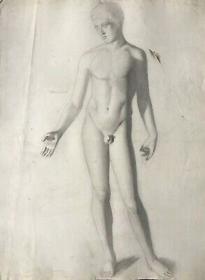 19Th Century French Realist Atelier Academie Drawing - Classical Male Nude Model