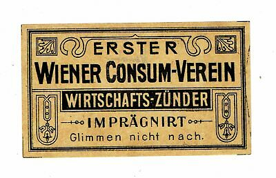 1 Old Austria early c1900s Packet Matchbox label Wiener Consum Verein 103x60mm.