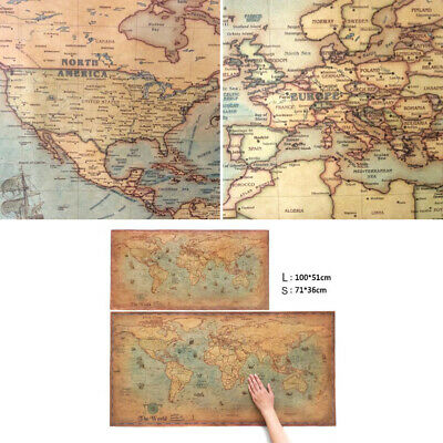 100x50cm WORLD MAP VINTAGE ANTIQUE STYLE LARGE POSTER WALL CHART PICTURE 2019
