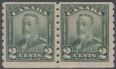 CANADA 161i 1929 2c KGV SCROLL COIL PASTE-UP PAIR MNH