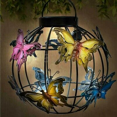 Colour Changing Solar Butterfly Lantern Hanging Garden Patio Light 23 x 24 cm