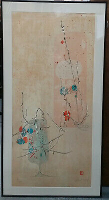 Hoi Lebadang Vietnamese French Mid Century Modern Lithograph Signed Stamped
