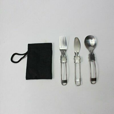 3pcs/Set Outdoor Folding Tableware Stainless Steel Cutlery Knife & Fork Sp SS