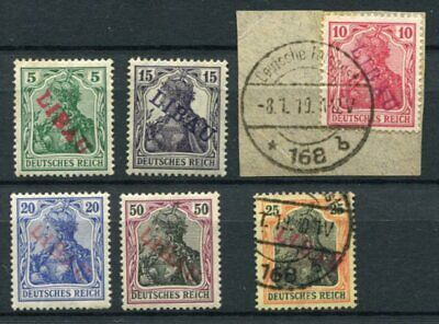 LIBAU GERMAN OCCUPATION 1919 M&U Lot Signed 6 Stamps