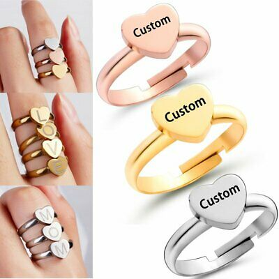 DIY Engrave Personalized Custom Stainless Steel Name Letters A-Z Rings Heart Hot