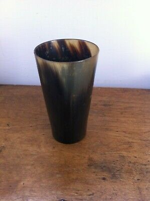 LOVELY LARGE DECORATIVE ANTIQUE POLISHED COW HORN BEAKER 5.6 inches