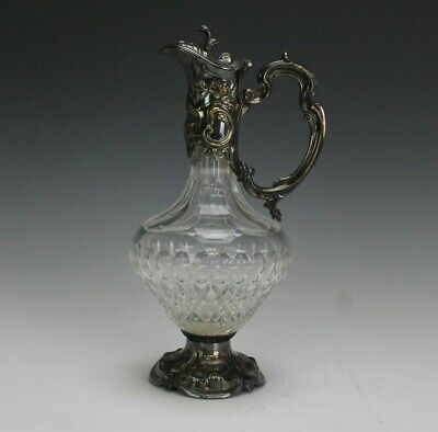 Antique Cut Crystal Glass Ornate Repousse Silver Plate Claret Pitcher Ewer RDX