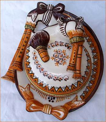 Vintage Bagpipe Butter Dish Henriot Quimper  French Faience 1940