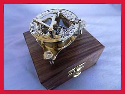 Brass Sundail Compass Antique Vintage Style Maritime W Wooden Box West London