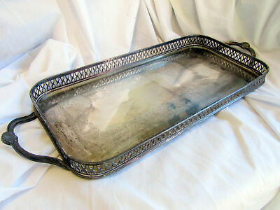 An Antique Heavy Silver Plated Serving Tray By Cavalier