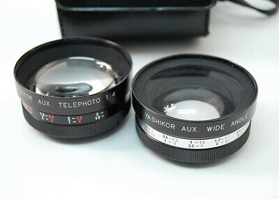 Yashika Yashikor Aux Telephoto 1:4 & Wide Angle 1:4 Y611 Lens Set Made in Japan