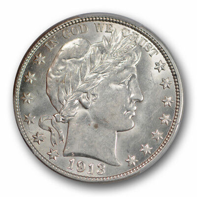 1913 D Barber Half Dollar PCGS AU 58 About Uncirculated Registry Set Coin