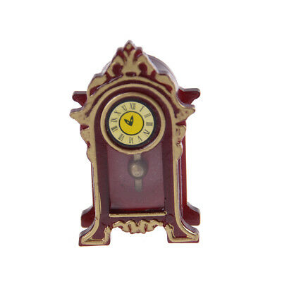 1:12 Dollhouse Miniature Wooden Classical Desk Clock Classic Furniture ToysB Wd