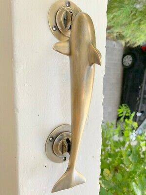 "aged DOLPHIN handle door PULL grab solid brass hollow old aged 12"" patina B"