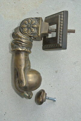 "5"" vintage style heavy front Door Knocker SOLID BRASS aged patina fist HAND B"