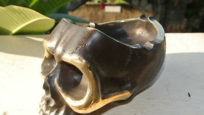 "SKULL head ash tray solid BRASS vintage style collect 6"" new day of the dead B"