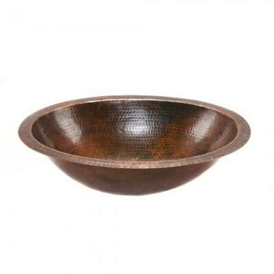Premier Copper Products LO19FDB 19 in. Oval Under Counter Hammered Copper Bat...