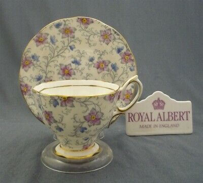 1935 1945 Royal Albert England Bone China Tea Cup & Saucer Pink and Blue Chintz
