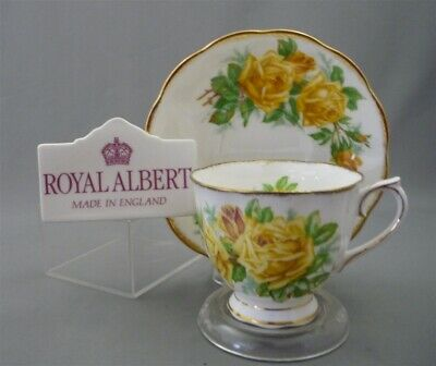 Royal Albert England YELLOW TEA ROSE Pattern Bone China Tea Cup Saucer Duo